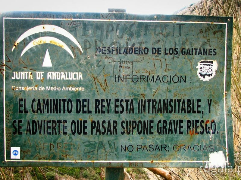 Cartel Caminito del Rey Intransitable