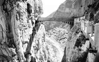Foto antigua Caminito del Rey: Puente del ingeniero Eugenio Rivera